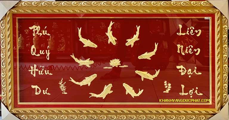tranh 9 cá chép và hoa sen
